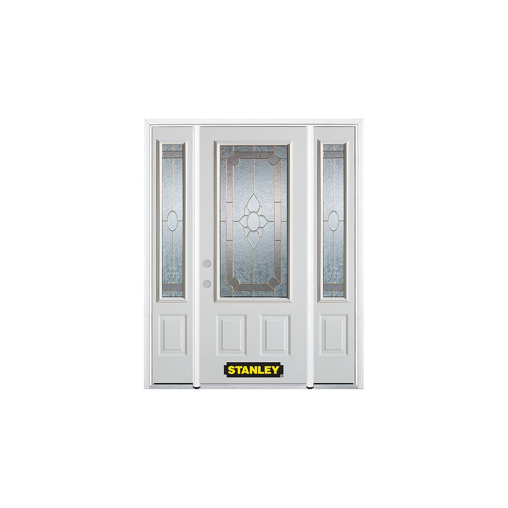 STANLEY Doors 66.5 inch x 82.375 inch Rochelle Brass 3/4 Lite 2-Panel Prefinished White Right-Hand Inswing Steel Prehung Front Door with Sidelites and Brickmould