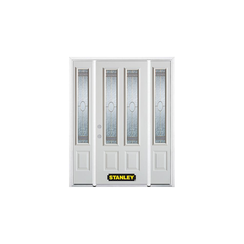 STANLEY Doors 66.5 inch x 82.375 inch Rochelle Brass 2-Lite 2-Panel Prefinished White Right-Hand Inswing Steel Prehung Front Door with Sidelites and Brickmould