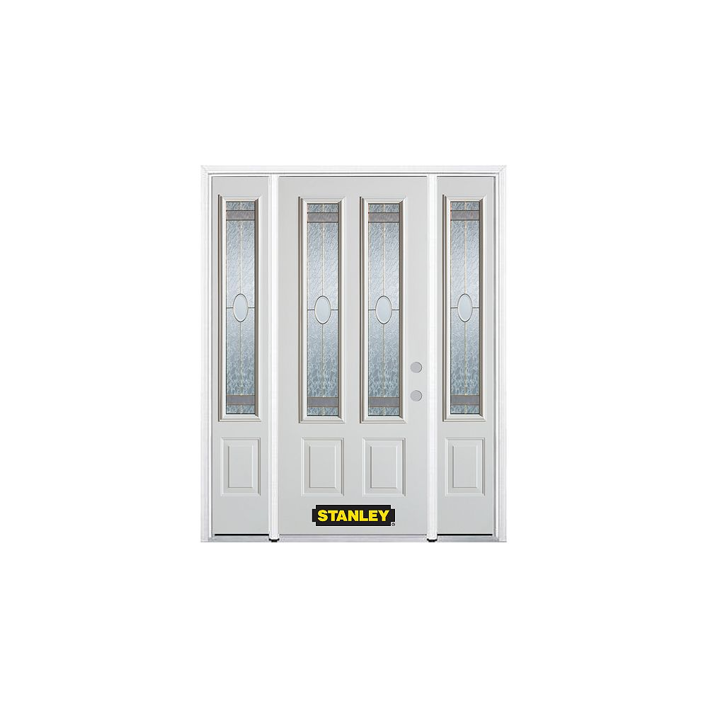 STANLEY Doors 66.5 inch x 82.375 inch Rochelle Brass 2-Lite 2-Panel Prefinished White Left-Hand Inswing Steel Prehung Front Door with Sidelites and Brickmould - ENERGY STAR®