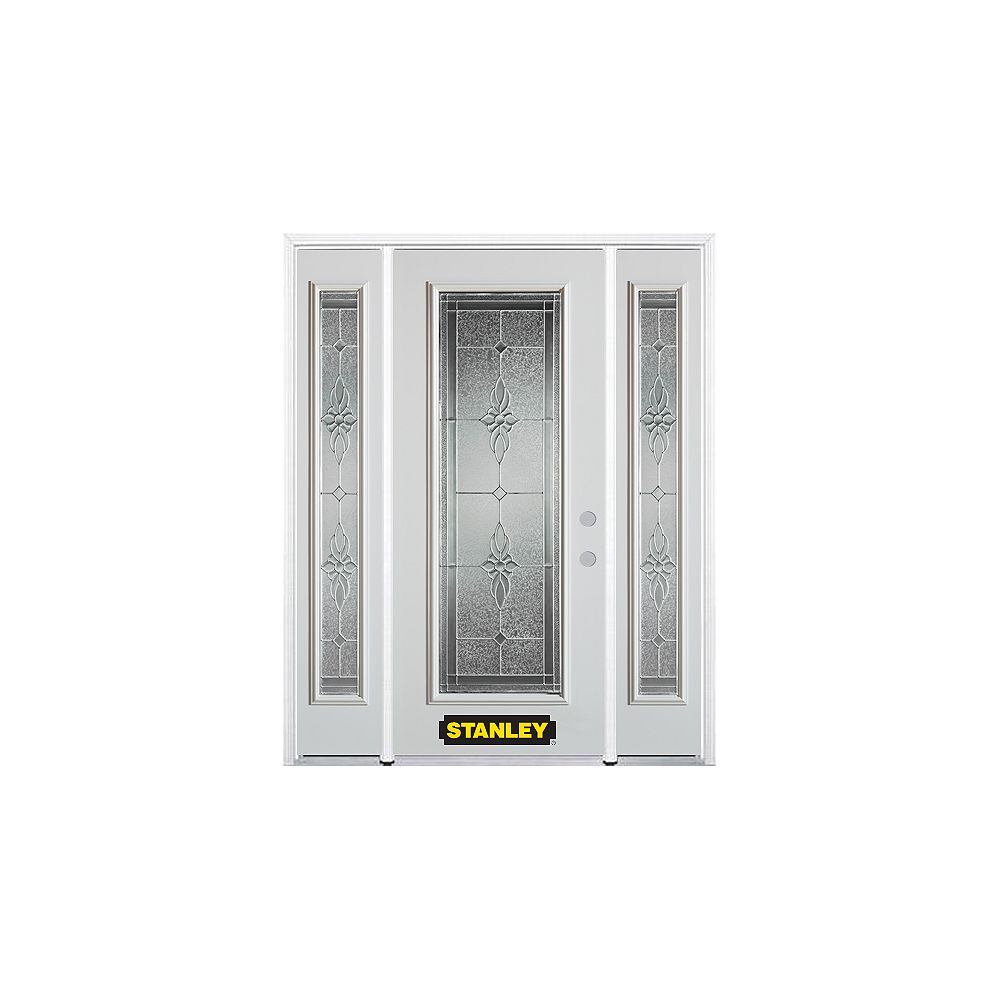 STANLEY Doors 66.5 inch x 82.375 inch Victoria Brass Full Lite Prefinished White Left-Hand Inswing Steel Prehung Front Door with Sidelites and Brickmould