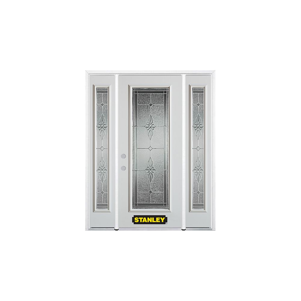 STANLEY Doors 66.5 inch x 82.375 inch Victoria Brass Full Lite Prefinished White Right-Hand Inswing Steel Prehung Front Door with Sidelites and Brickmould