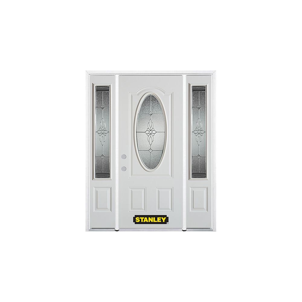STANLEY Doors 68.5 inch x 82.375 inch Victoria Brass 3/4 Oval Lite 2-Panel Prefinished White Right-Hand Inswing Steel Prehung Front Door with Sidelites and Brickmould