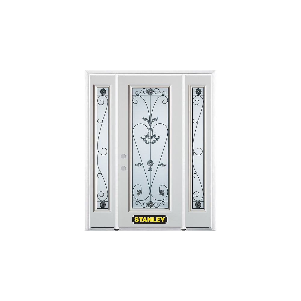 STANLEY Doors 68.5 inch x 82.375 inch Blacksmith Full Lite Prefinished White Right-Hand Inswing Steel Prehung Front Door with Sidelites and Brickmould