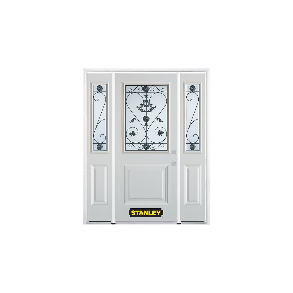 STANLEY Doors 64.5 inch x 82.375 inch Blacksmith 1/2 Lite 1-Panel Prefinished White Left-Hand Inswing Steel Prehung Front Door with Sidelites and Brickmould