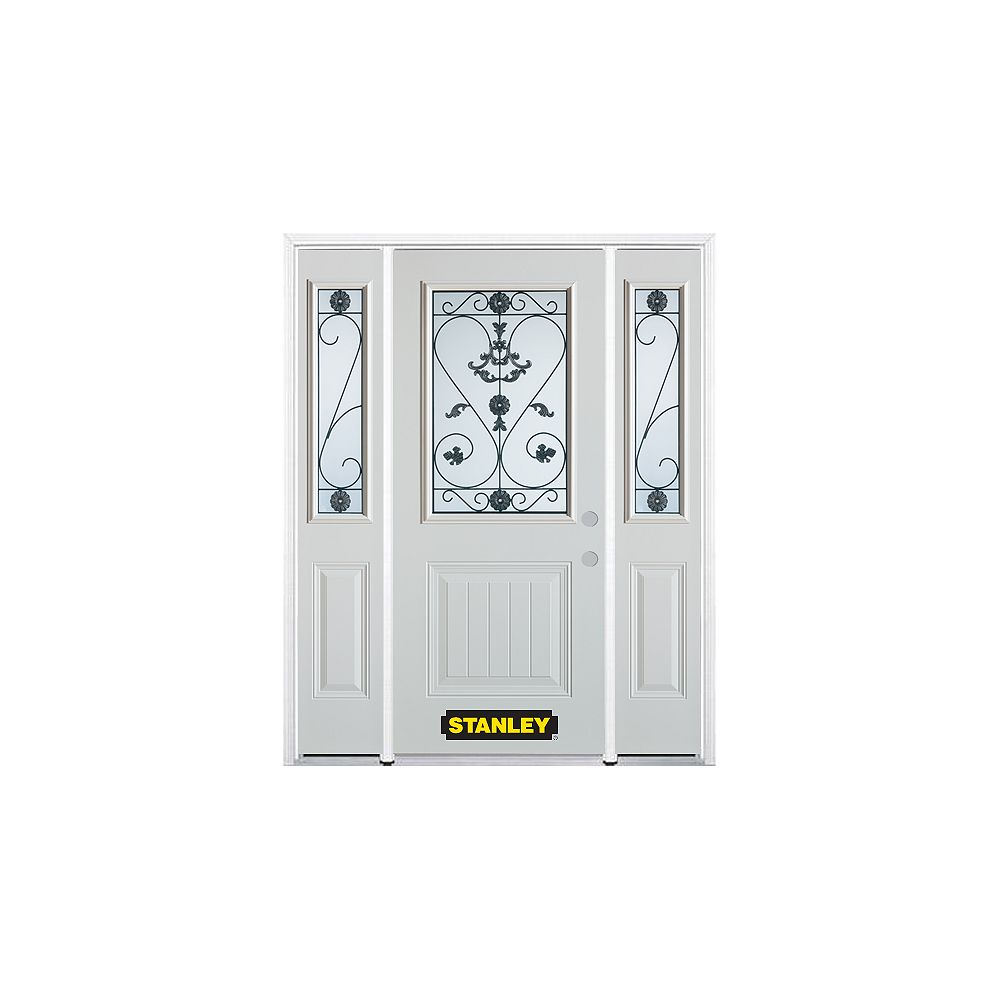 STANLEY Doors 66.5 inch x 82.375 inch Blacksmith 1/2 Lite 1-Panel Prefinished White Left-Hand Inswing Steel Prehung Front Door with Sidelites and Brickmould