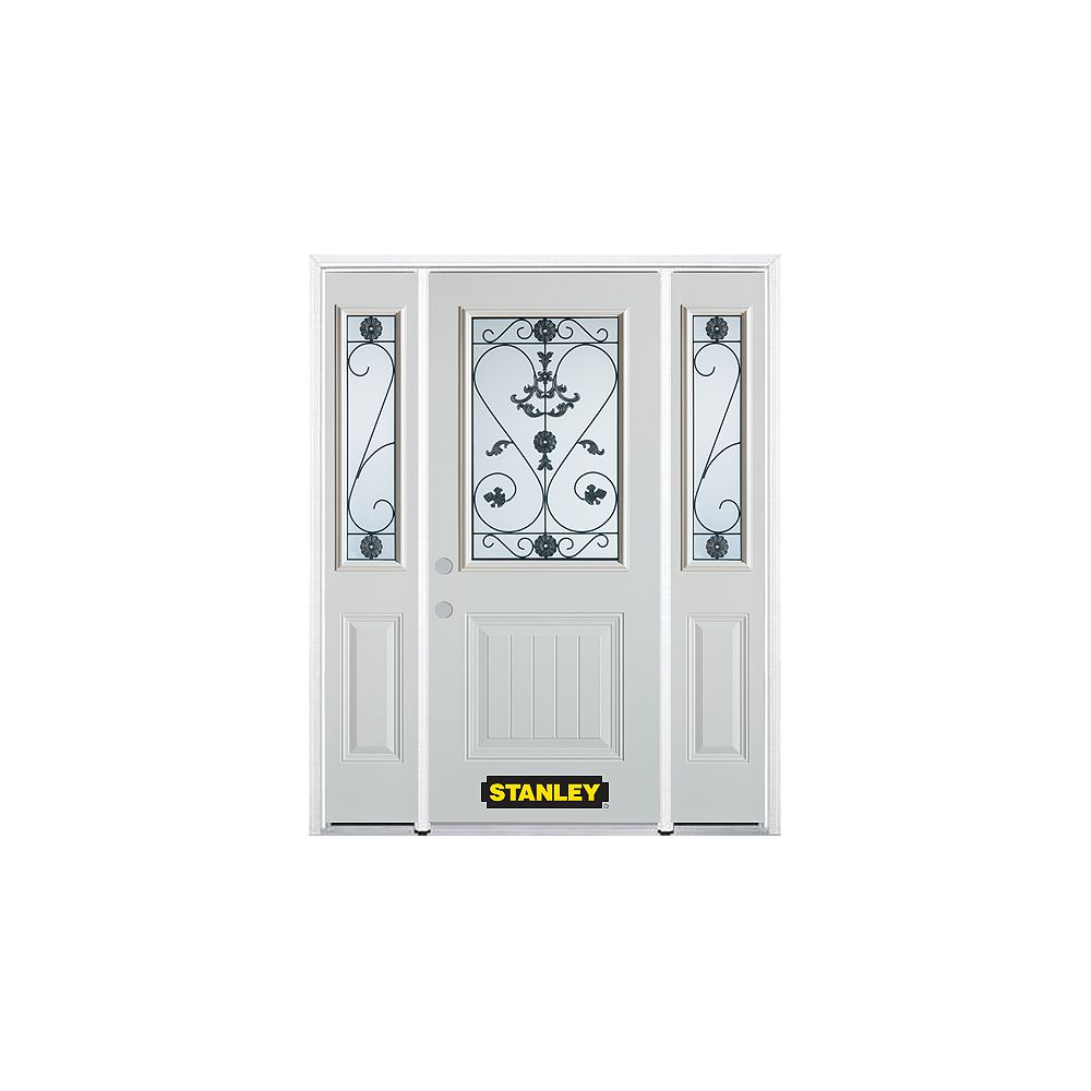 STANLEY Doors 66.5 inch x 82.375 inch Blacksmith 1/2 Lite 1-Panel Prefinished White Right-Hand Inswing Steel Prehung Front Door with Sidelites and Brickmould - ENERGY STAR®