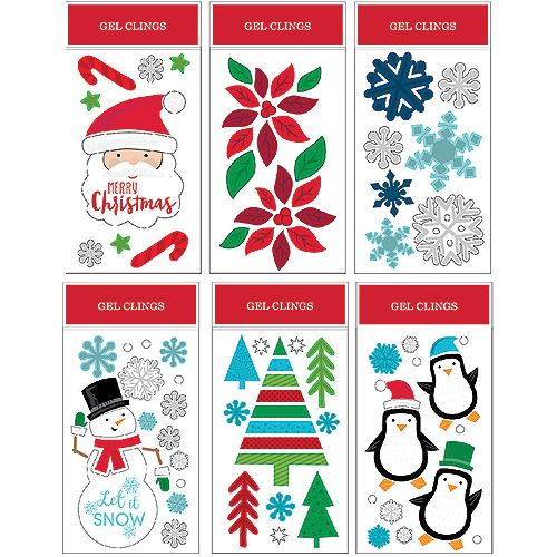 Home Accents 6-inch x 12-inch Christmas Gel Cling Wall Decorations