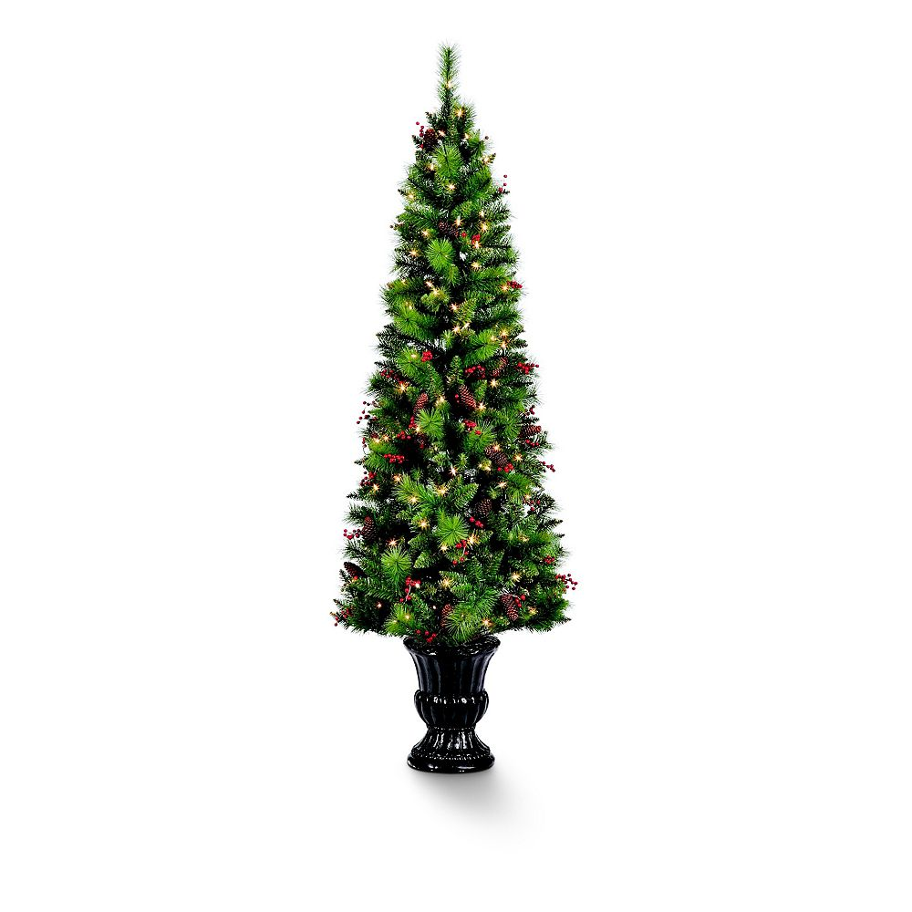 Home Accents 6.5 ft Pre-Lit Decorated Colorado Pine Christmas Tree