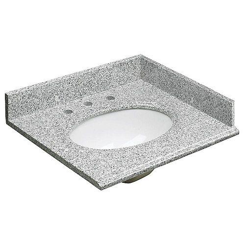 25-inch W Granite Vanity Top in Grey and Basin in White with Backsplash and Optional Sidesplash