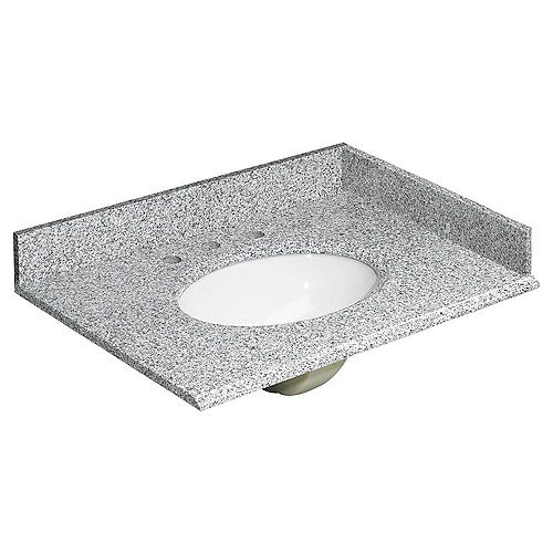 31-inch W Granite Vanity Top in Rushmore Grey with Backsplash and Optional Sidesplash