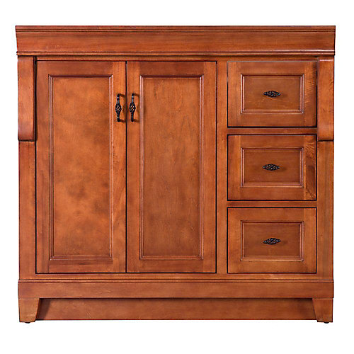 Naples 36-inch W Bath Vanity Cabinet Only in Warm Cinnamon with Right Hand Drawers