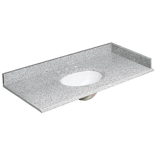 49-inch W Granite Vanity Top in Rushmore Grey with Backsplash and Optional Sidesplash