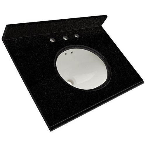 31-Inch W x 22-Inch D Granite Vanity Top in Black