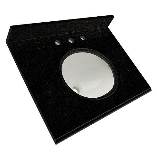 25-Inch W x 22-Inch D Granite Vanity Top in Tempest Black