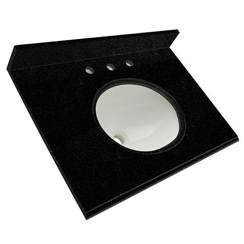 31-Inch W x 22-Inch D Granite Vanity Top in Tempest Black