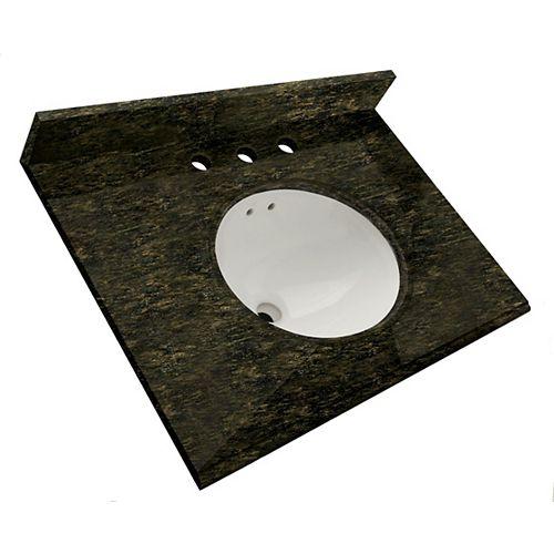 25-Inch W x 22-Inch D Granite Vanity Top in Ubatuba