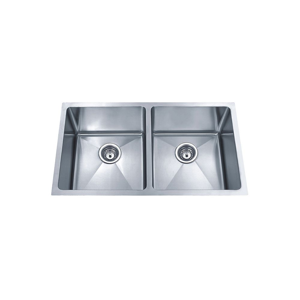 Acri Tec 32 X 19 Stainless Steel Undermount Double Bowl Kitchen Sink With Small Radius Cor The Home Depot Canada