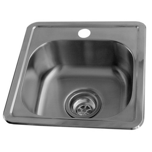 15 x 15 Stainless Steel Bar Sink, Single Bowl with Single-Hole Faucet Drilling