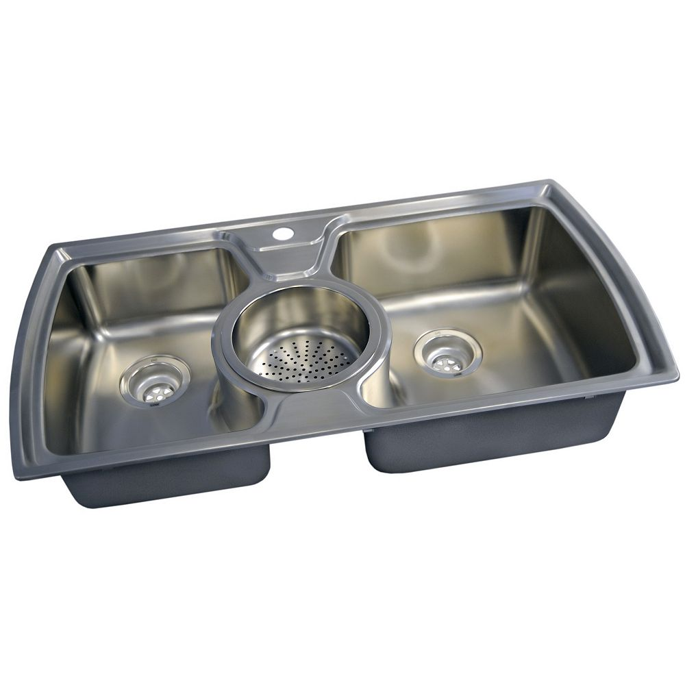 Acritec Stainless Steel Double Bowl Kitchen Sink   The Home Depot ...