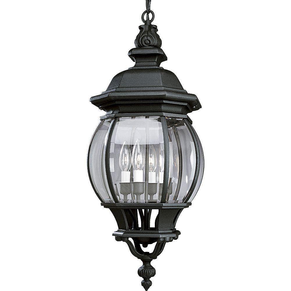 Progress Lighting Lanterne suspendue à 4 Lumières, Collection Onion Lantern - fini Noir Texturé
