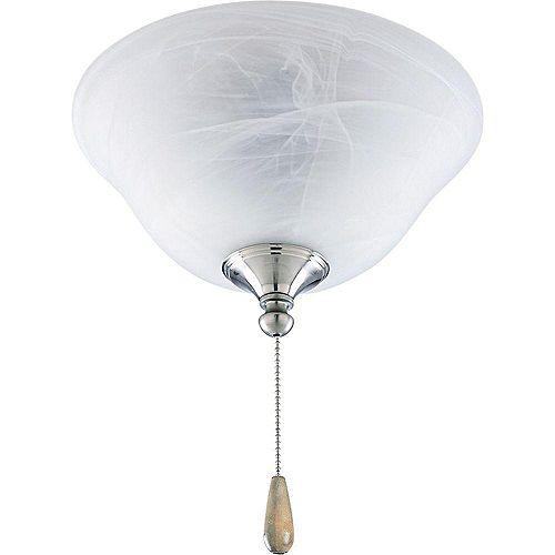 Luminaire de ventilateur de plafond à 2 Lumières, Collection AirPro - fini Nickel Brossé