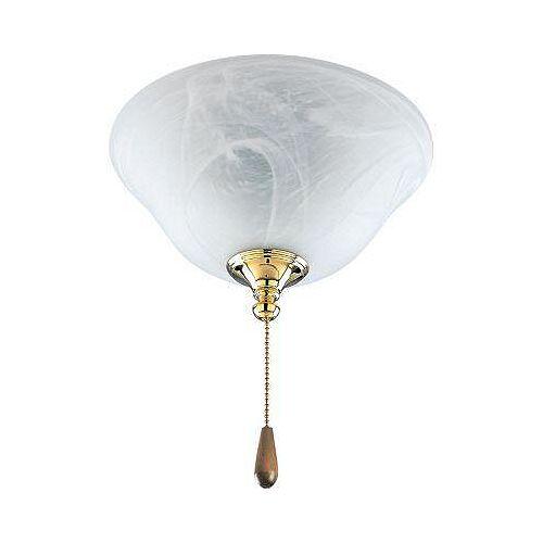 Luminaire de ventilateur de plafond à 2 Lumières, Collection AirPro - fini Laiton Poli