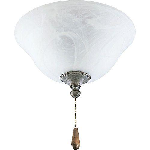 Luminaire de ventilateur de plafond à 2 Lumières, Collection AirPro - fini Gris Argenté