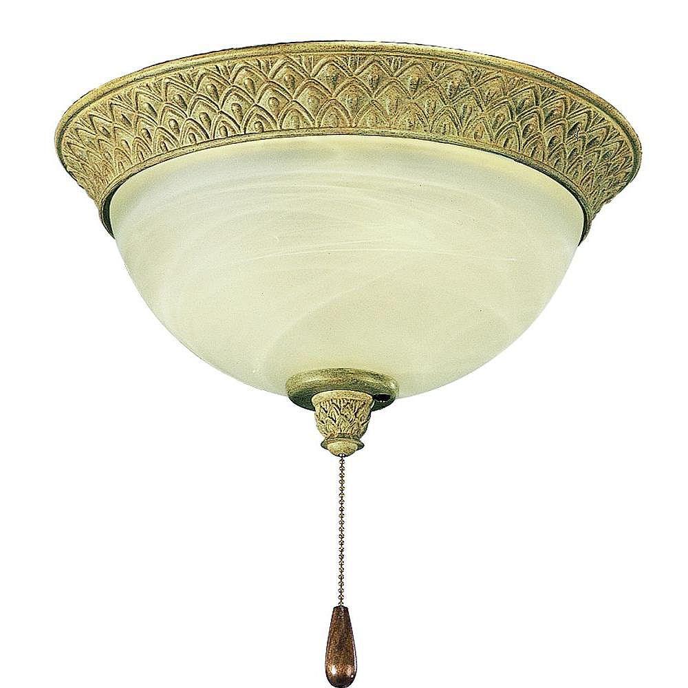 Progress Lighting Luminaire de ventilateur de plafond à 2 Lumières, Collection Savannah - fini Ruisseau de mer