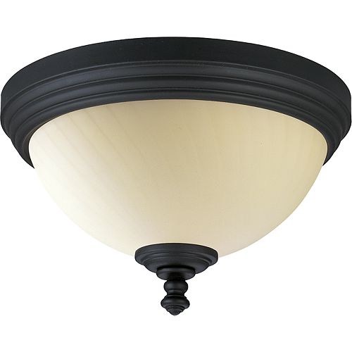 Meeting Street Collection Forged Black 2-light Flushmount