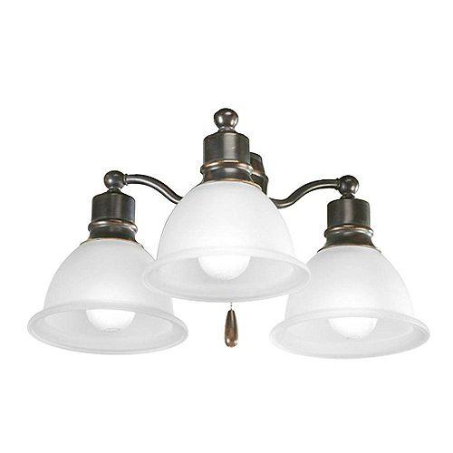 Luminaire de ventilateur de plafond à 3 Lumières, Collection Madison - fini Bronze à l'Ancienne