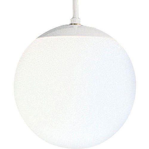 60W 1-Light White Pendant with White Opal Glass