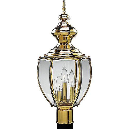 Lampadaire à 3 Lumières, Collection BrassGUARD - fini Laiton Poli