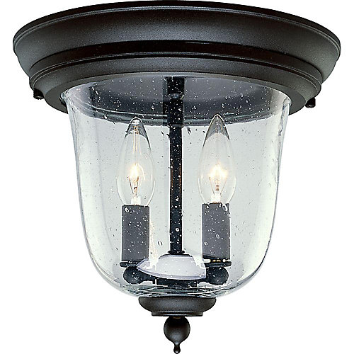 Ashmore Collection Textured Black 2-light Outdoor Flushmount