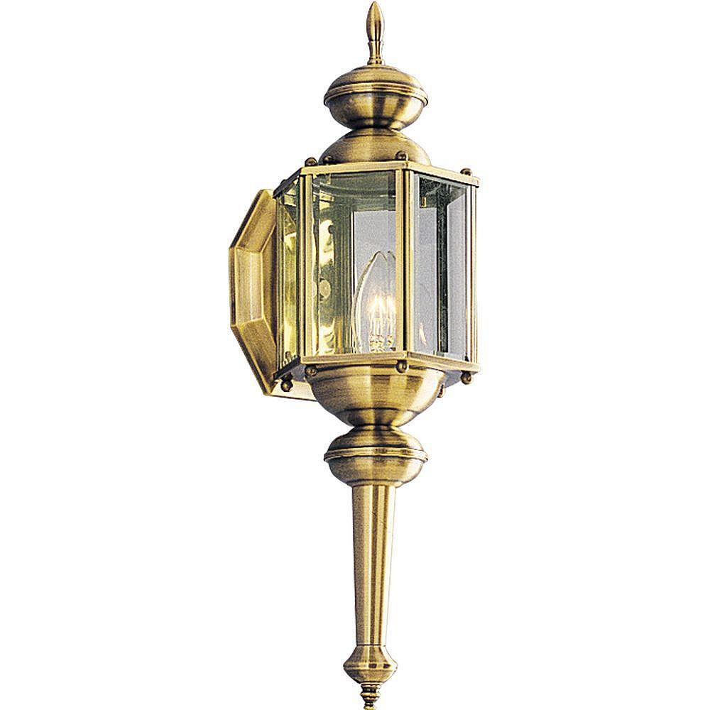 Progress Lighting Lanterne murale à 1 Lumière, Collection BrassGUARD - fini Laiton à l'Ancienne