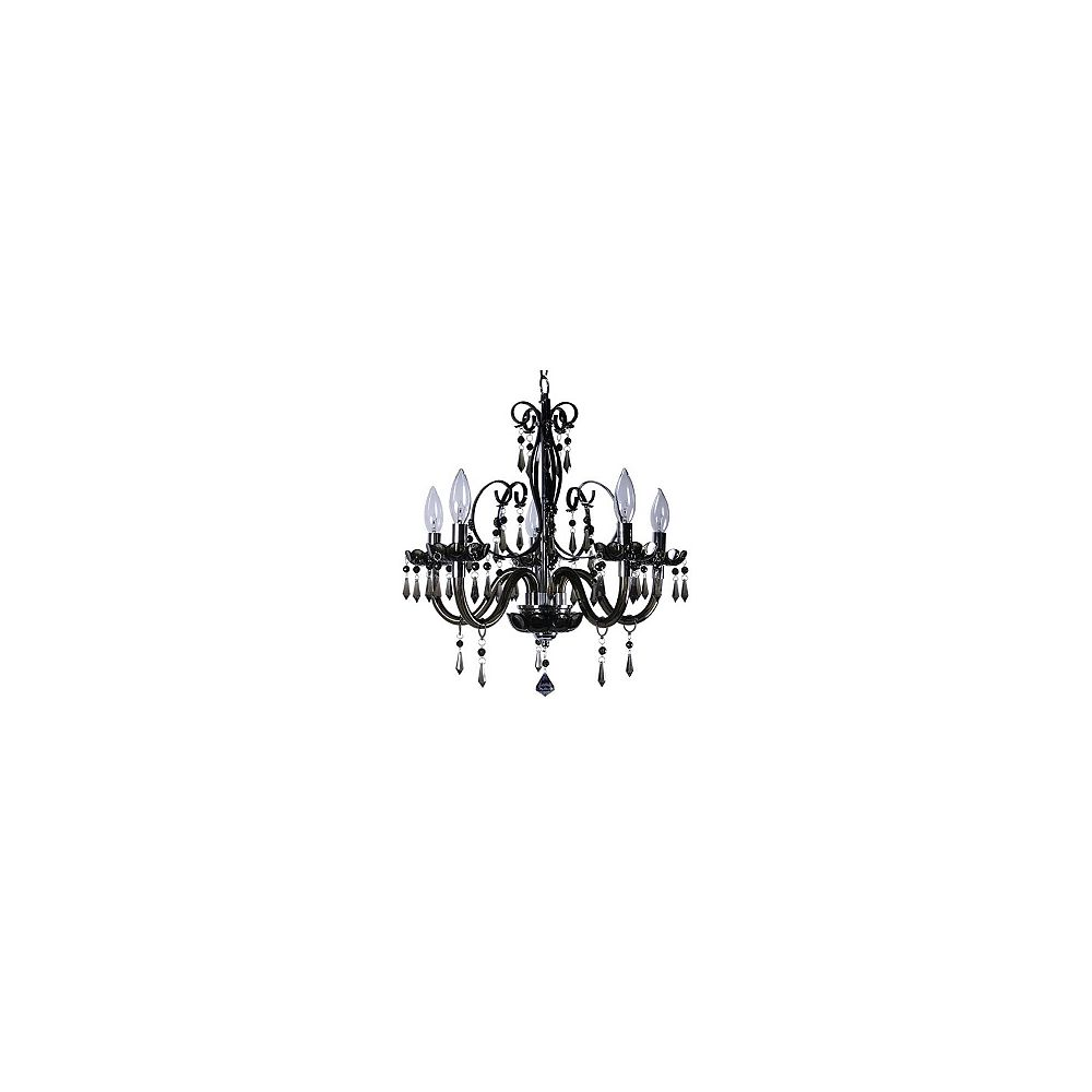 Titus Manufacturing Bella 5 Light Black Chandelier With Acrylic Jewels The Home Depot Canada