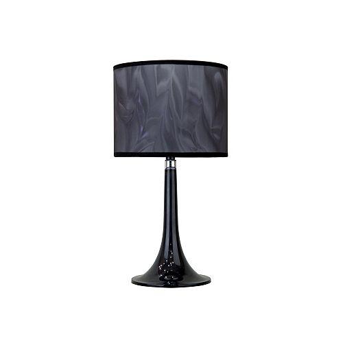 Hampton Bay Lampe de table Moda en Lucite noire, 17po, abat-jour gris fumée