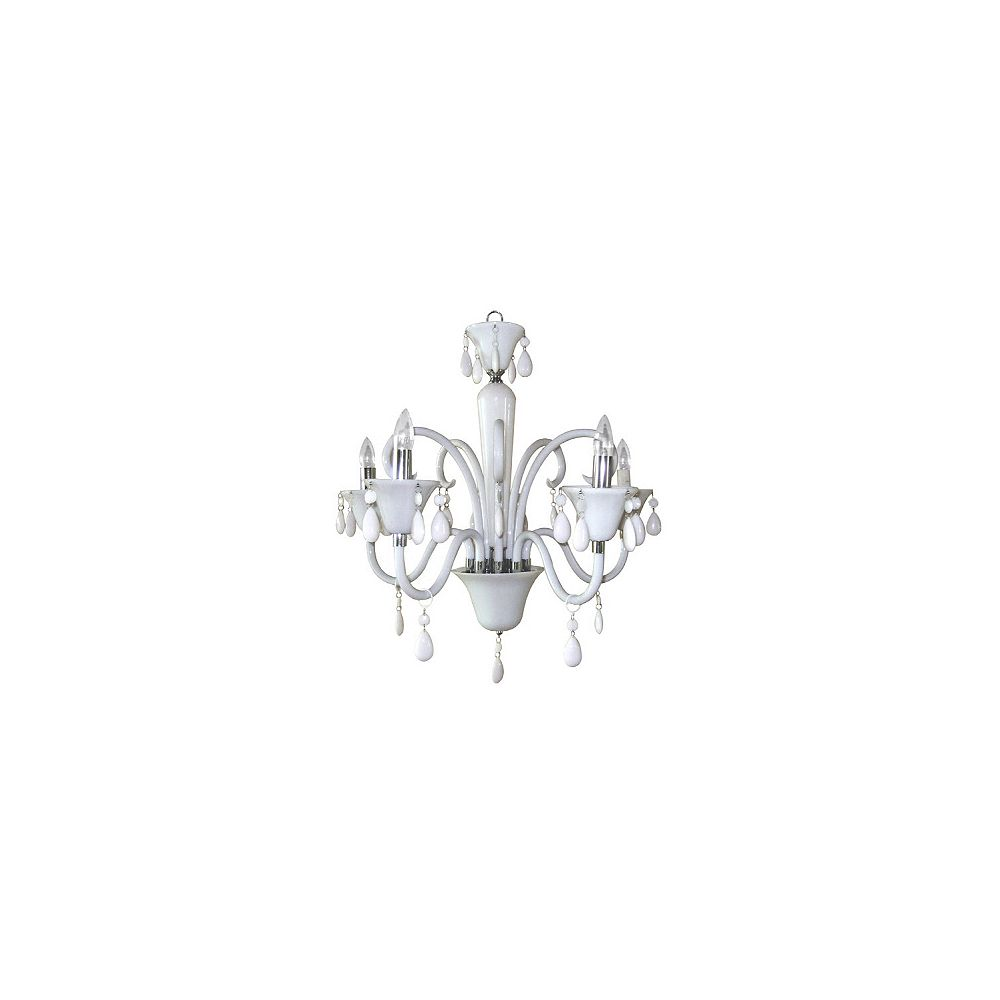 Titus Manufacturing Euphoria Five Light Polished Chrome Chandelier With White Lucite Jewel The Home Depot Canada