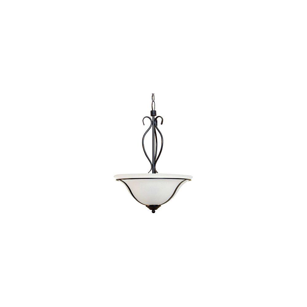 Hampton Bay Luminaire suspendu Romanesque ébène, 3 ampoules, 60 W, diffuseur en verre granulé