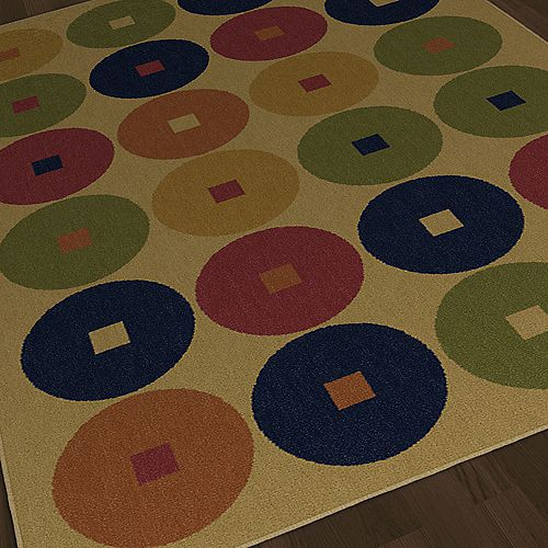 Korhani Carpette, 7 pi 10 po x 10 pi 8 po rectangulaire, Colorwheels or