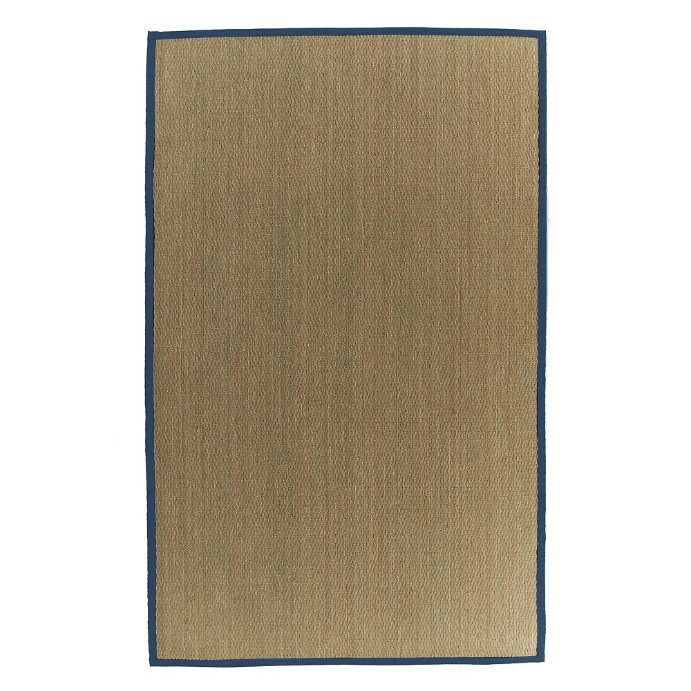 Lanart Rug Carpette d'intérieur, 9 pi x 10 pi, tissage texturé, rectangulaire, jonc de mer naturel, bleu