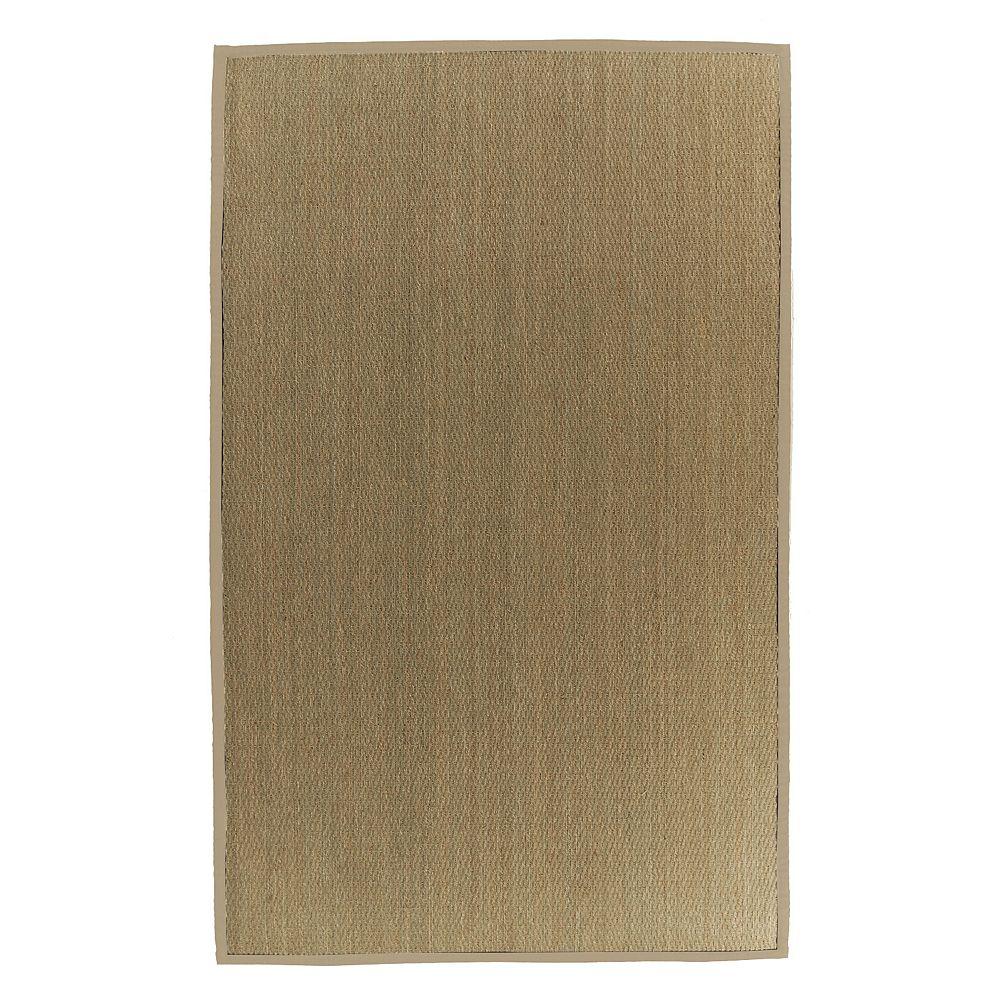 Lanart Rug Carpette d'intérieur, 9 pi x 10 pi, tissage texturé, rectangulaire, jonc de mer naturel, havane