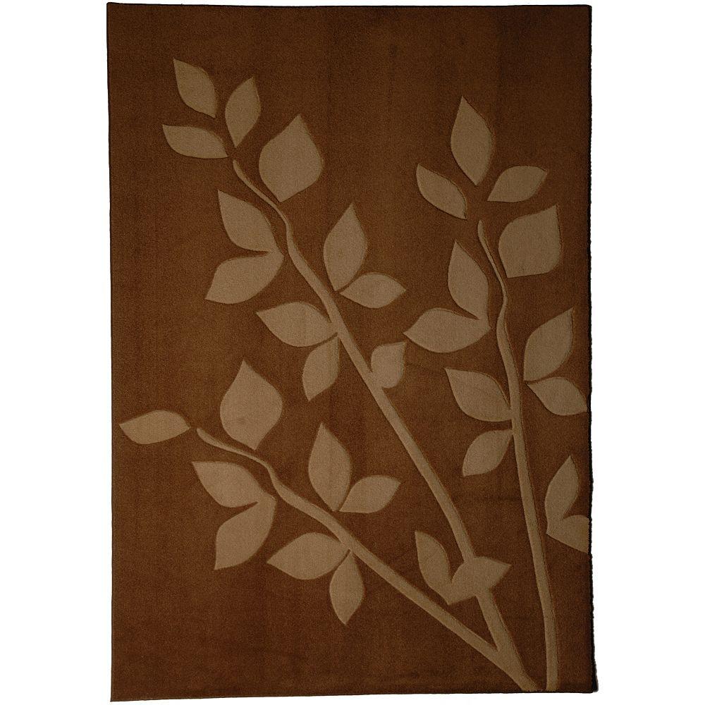 Lanart Rug Carpette d'intérieur, 4 pi x 6 pi, style contemporain, rectangulaire, brun Gardenia