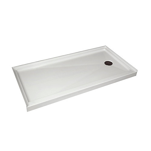 Single Threshold Retro-Fit Shower Base with Right Hand Drain - 60 Inch x 30 Inch
