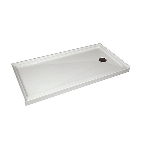 Acri-Tec Single Threshold Retro-Fit Shower Base with Right Hand Drain - 60 Inch x 32 Inch