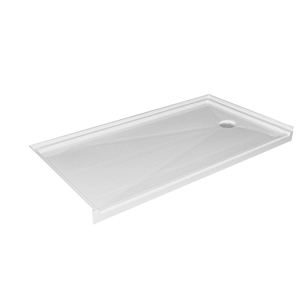 Acri-Tec Single Threshold Barrier Free Shower Base with Right Hand Drain - 60 Inch x 32 Inch