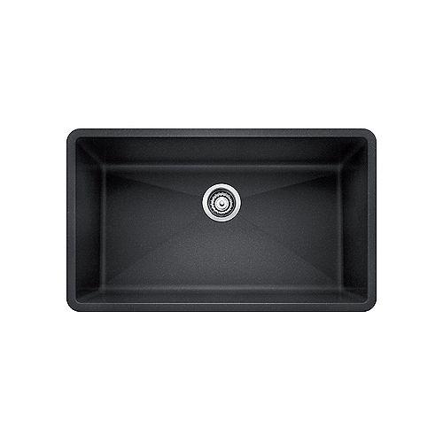PRECIS U SUPER SINGLE, Large Single Bowl Undermount Kitchen Sink, SILGRANIT Anthracite