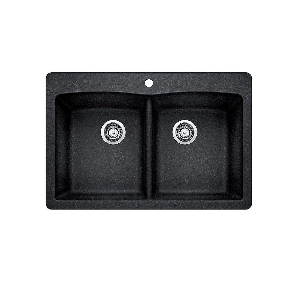 Blanco Évier de cuisine à montage en surface à deux cuves DIAMOND 210, SILGRANIT anthracite