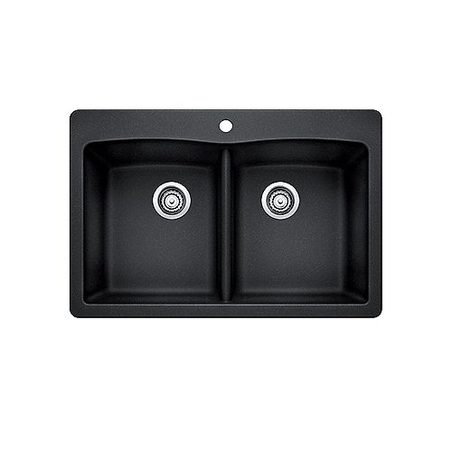 DIAMOND 210, Equal Double Bowl Drop-in Kitchen Sink, SILGRANIT Anthracite