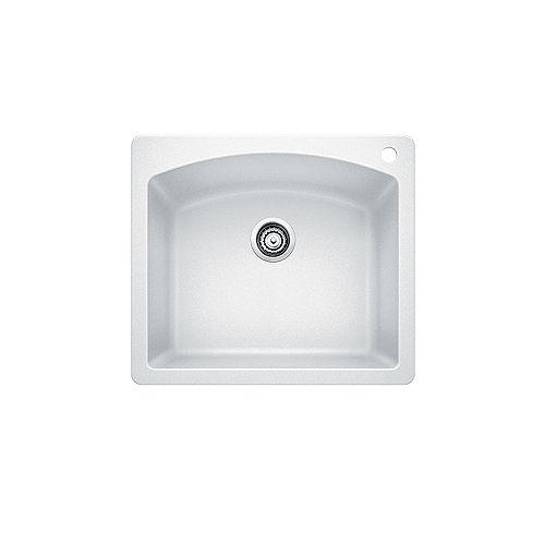 DIAMOND 1, Single Bowl Drop-in Kitchen Sink, SILGRANIT White