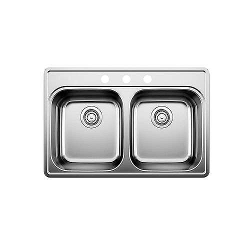 Blanco ESSENTIAL 2, Equal Double Bowl Drop-in Kitchen Sink (3 Holes), Stainless Steel